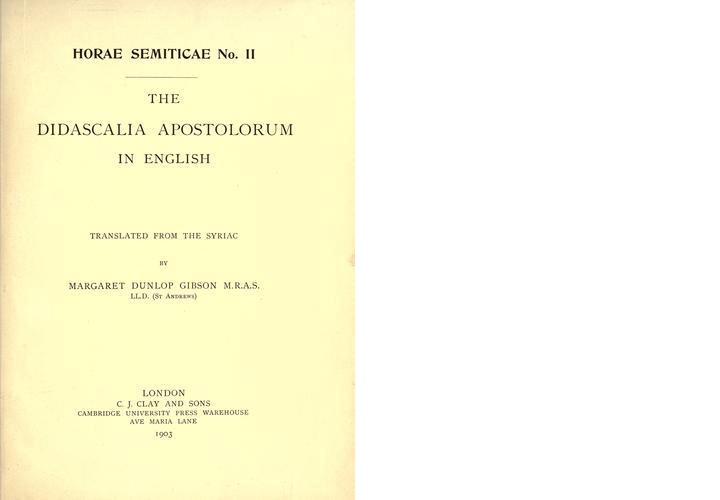 10. Didascalia Apostolorum in English