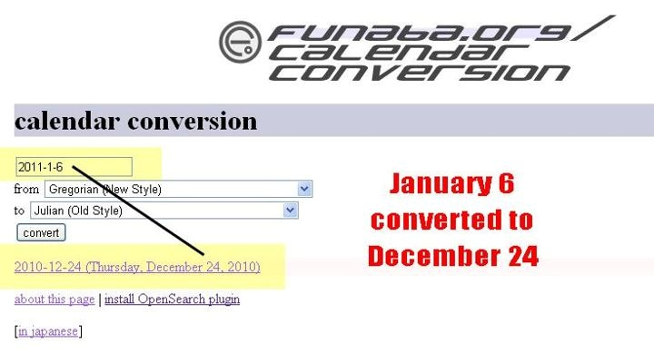 13. Calendar Converter 6 January - 24 December